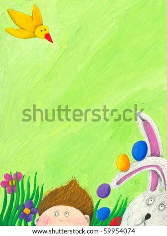 Acrylic illustration of Easter scene with boy, rabbit and bird - stock photo