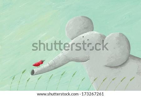 Acrylic illustration of elephant and bird - stock photo