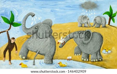 Acrylic illustration of elephants bathing - stock photo
