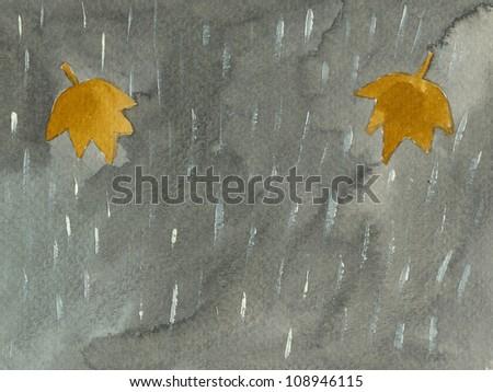 Acrylic illustration of Fall - Autumn scene - stock photo