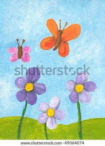 Acrylic illustration of flower meadow - stock photo