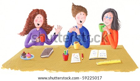 Acrylic illustration of friends talk and drink tea - stock photo