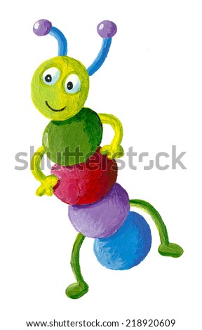 Acrylic illustration of funny colorful caterpillar - stock photo