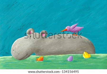 Acrylic illustration of funny hippo, bird and fishes - stock photo