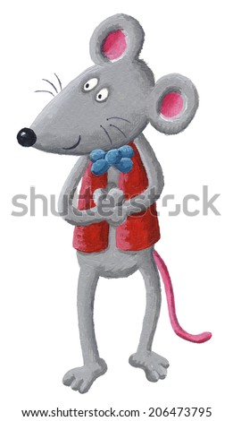 Acrylic illustration of funny mouse with bow tie - stock photo