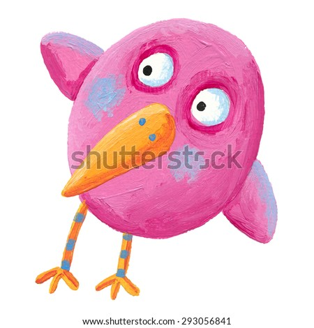 Acrylic illustration of funny pink bird  - artistic content - stock photo