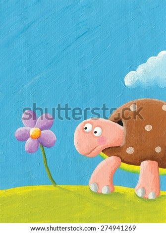 Acrylic illustration of funny turtle moving - artistic content, hand made - stock photo