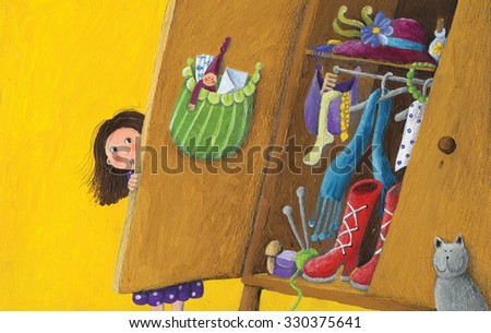 Acrylic illustration of girl, cat and secrets from wardrobe - stock photo