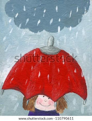Acrylic illustration of girl in rain with umbrella - stock photo