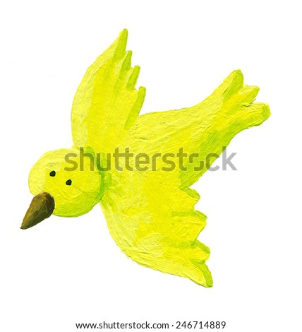 Acrylic illustration of green bird flying - stock photo