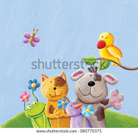 Acrylic illustration of happy animals; cat, dog. frog, bird and butterfly - artistic content