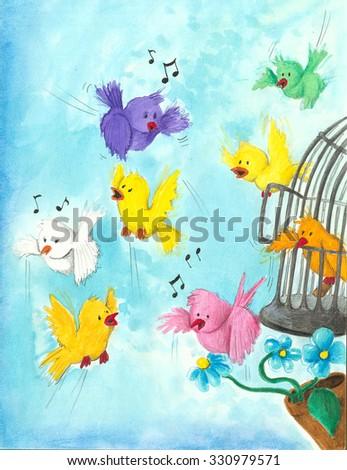 Acrylic illustration of happy birds flying and singing - stock photo