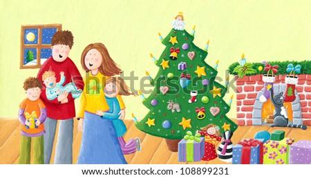 Acrylic illustration of happy family on Christmas - stock photo