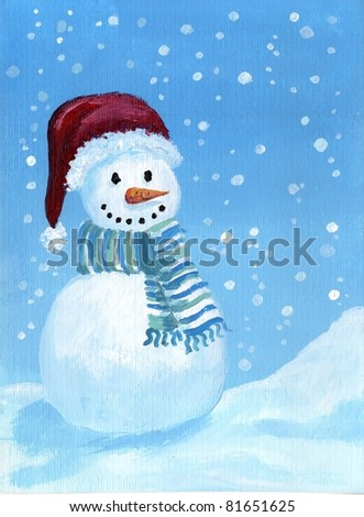 Acrylic Illustration of happy snowman with red cap and scarf - stock photo
