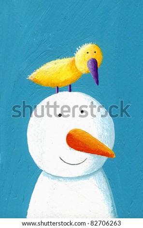 Acrylic illustration of happy snowman with yellow bird - stock photo