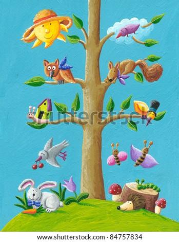 Acrylic illustration of happy tree - stock photo