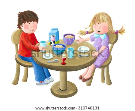 Acrylic illustration of kids eating breakfast - artistic content - stock photo