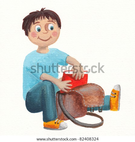 Acrylic illustration of little boy with school bag and book - stock photo