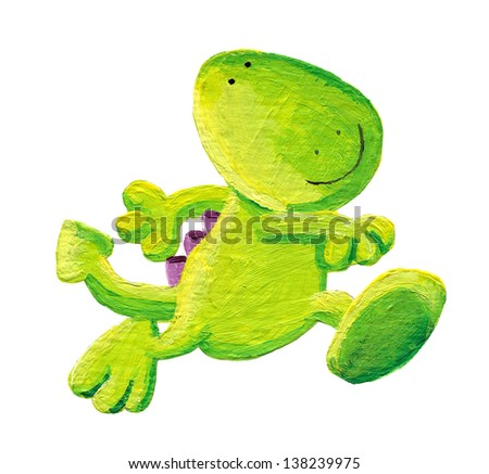 Acrylic illustration of little dragon happily walking - stock photo