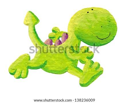 Acrylic illustration of little dragon running - stock photo