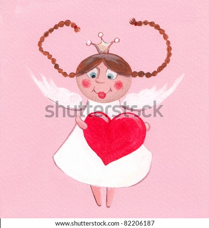 Acrylic illustration of little princess greeting card - stock photo