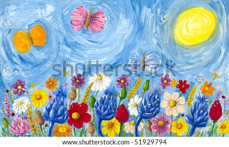 Acrylic illustration of meadow full of colorful flowers - stock photo