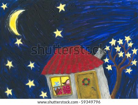 Acrylic illustration of night scene - stock photo