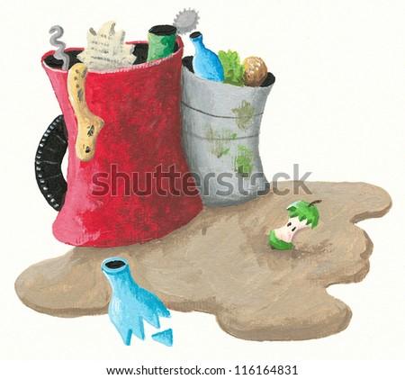 Acrylic illustration of pollution - stock photo