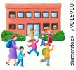 Acrylic illustration of Primary School - stock vector