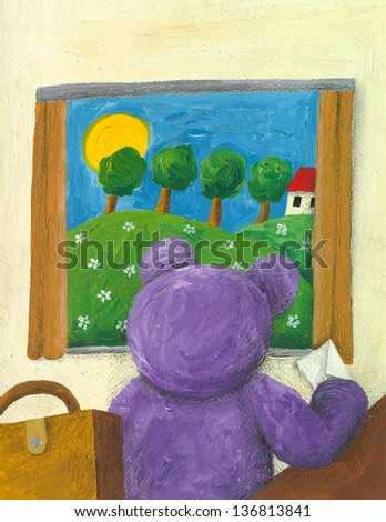 Acrylic illustration of purple teddy bear looking trough the window - stock photo