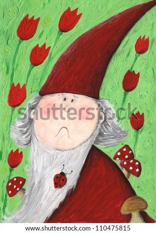 Acrylic illustration of puzzled garden dwarf - stock photo