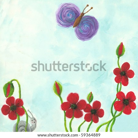 Acrylic illustration of Red poppies in sunny day - stock photo