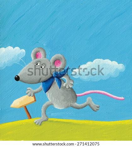 Acrylic illustration of running mouse - stock photo