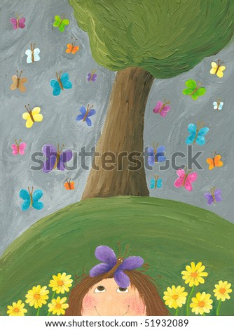 Acrylic illustration of scene in the park after spring rain - stock photo