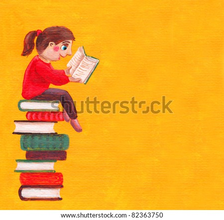 Acrylic illustration of schoolgirl sitting on the heap of books and reading one of them - stock photo