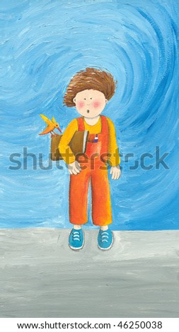 Acrylic illustration of small boy with book - stock photo