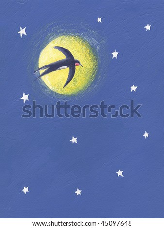 Acrylic illustration of Swallow flying in the night