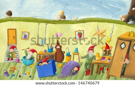 Acrylic illustration of the dwarf's children's room - stock photo