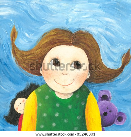 Acrylic illustration of the happy little girl with doll and teddybear - stock photo