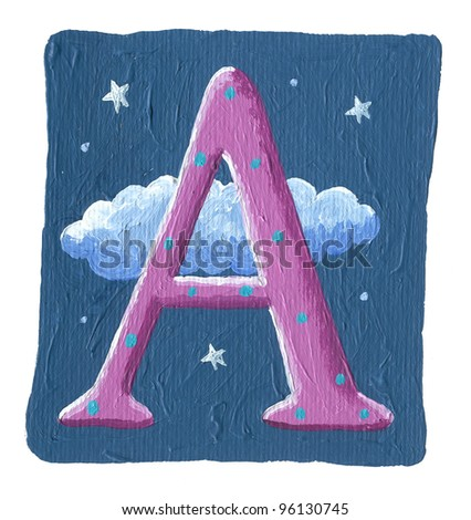 Acrylic illustration of the initial capital letter A on the night scene background - stock photo