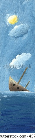 Acrylic illustration of the Shipwreck - stock photo