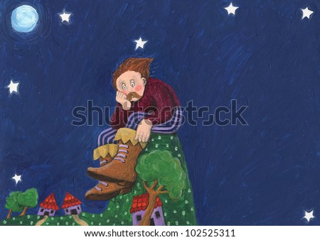 Acrylic illustration of the worried Giant sitting on the hill - stock photo