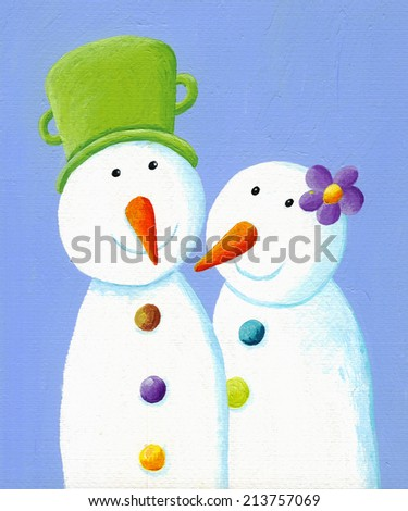 Acrylic illustration of two cute snowmen in love  - stock photo