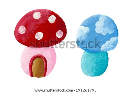 Acrylic illustration of two fairy tales mushrooms - stock photo