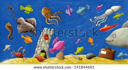 Acrylic illustration of under-watter life - stock photo