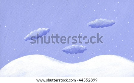 Acrylic illustration of winter background
