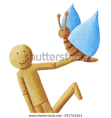 Acrylic illustration of wooden doll with butterfly - stock photo