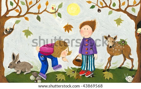 Acrylic illustrations of kids Collecting chestnuts - stock photo