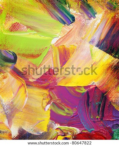 acrylic paint textures, impasto, hand painted on canvas - stock photo