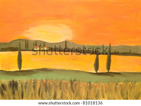 Acrylic Painting of a Sunset in Tuscany made by a private Painter - stock photo